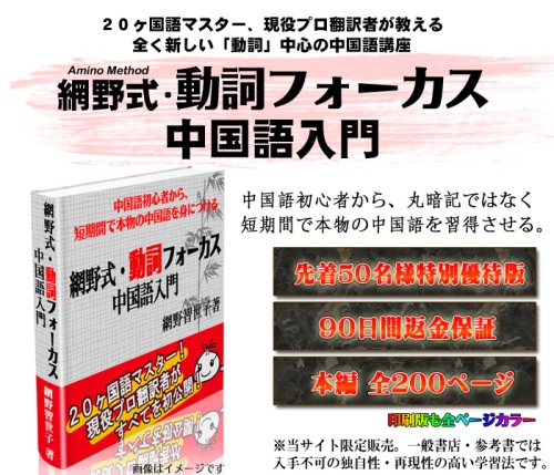 【網野式】動詞フォーカス中国語入門・網野智世子